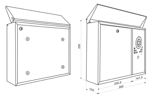 wymiary skrzynki z wideodomofonem MP-3C VIDOS