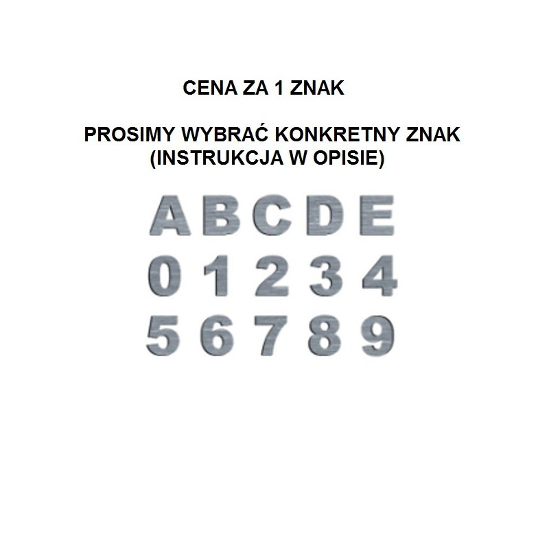 Cyfry i litery do skrzynki na listy